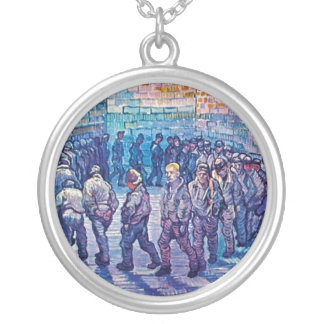 Vincent Van Gogh - Prisoners Walking The Round Silver Plated Necklace