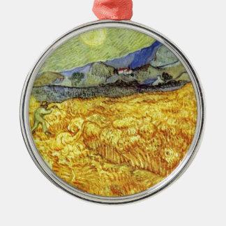 Vincent Van Gogh Reaper Silver-Colored Round Ornament