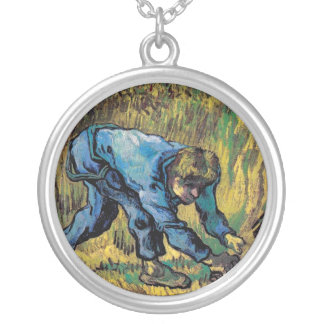 Vincent Van Gogh - Reaper With Sickle - Fine Art Silver Plated Necklace