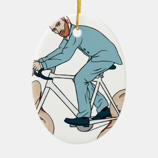 Vincent Van Gogh Riding Bike With Severed Left Ear Ceramic Oval Ornament