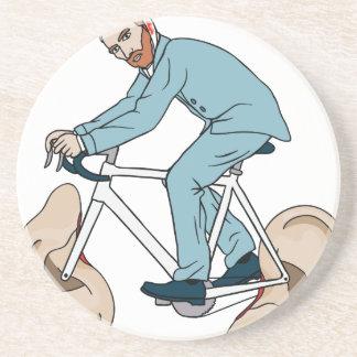 Vincent Van Gogh Riding Bike With Severed Left Ear Coaster
