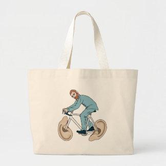 Vincent Van Gogh Riding Bike With Severed Left Ear Large Tote Bag