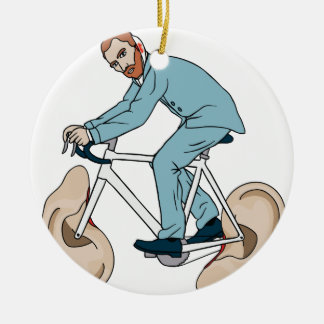 Vincent Van Gogh Riding Bike With Severed Left Ear Round Ceramic Ornament