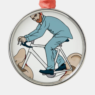 Vincent Van Gogh Riding Bike With Severed Left Ear Silver-Colored Round Ornament