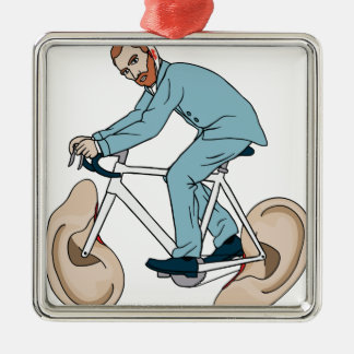 Vincent Van Gogh Riding Bike With Severed Left Ear Silver-Colored Square Ornament