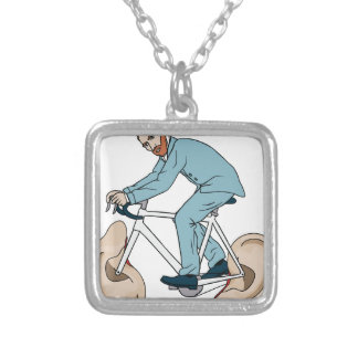 Vincent Van Gogh Riding Bike With Severed Left Ear Silver Plated Necklace