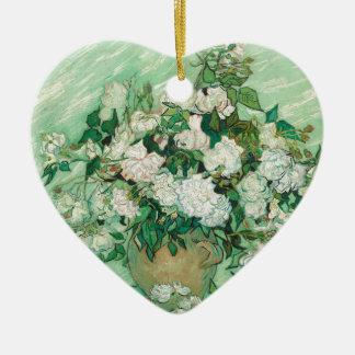 Vincent van Gogh Roses Ceramic Heart Ornament