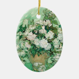Vincent van Gogh Roses Ceramic Oval Ornament