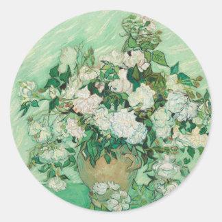 Vincent van Gogh Roses Classic Round Sticker
