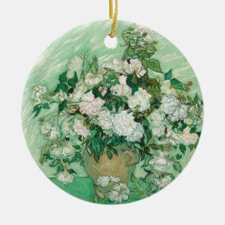 Vincent van Gogh Roses Round Ceramic Ornament