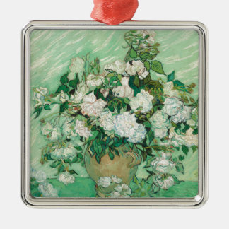 Vincent van Gogh Roses Silver-Colored Square Ornament