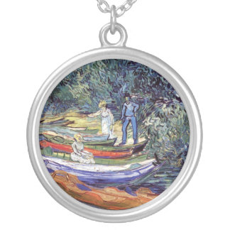 Vincent Van Gogh - Rowing Boats On The Banks Oise Silver Plated Necklace