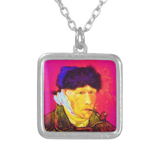 Vincent Van Gogh - Self Portrait Bandage Pop Art Silver Plated Necklace