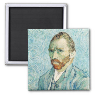 Vincent Van Gogh Self Portrait Blue Square Magnet