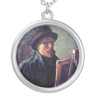 Vincent Van Gogh - Self Portrait Dark Felt Hat Silver Plated Necklace