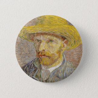 Vincent Van Gogh Self Portrait with Straw Hat Art 2 Inch Round Button