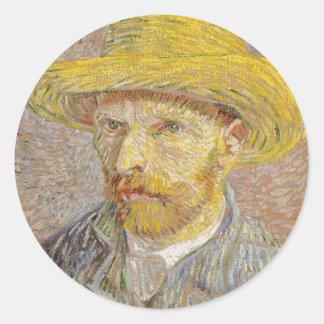 Vincent Van Gogh Self Portrait with Straw Hat Art Classic Round Sticker