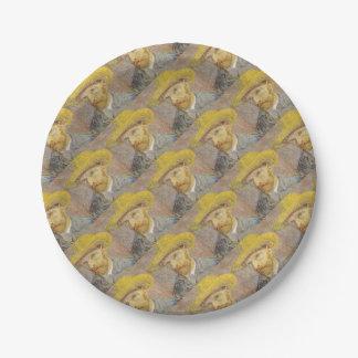 Vincent Van Gogh Self Portrait with Straw Hat Art Paper Plate