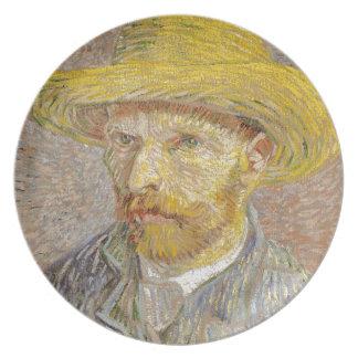 Vincent Van Gogh Self Portrait with Straw Hat Art Plate