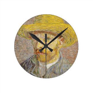 Vincent Van Gogh Self Portrait with Straw Hat Art Round Clock
