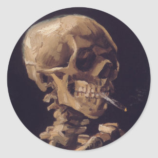 Vincent Van Gogh Skull with a Burning Cigarette Classic Round Sticker