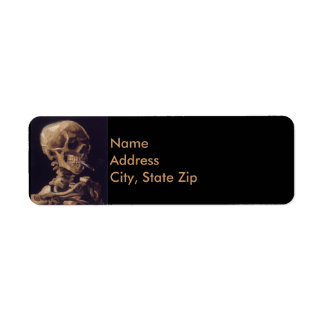 Vincent Van Gogh Skull with a Burning Cigarette Return Address Label