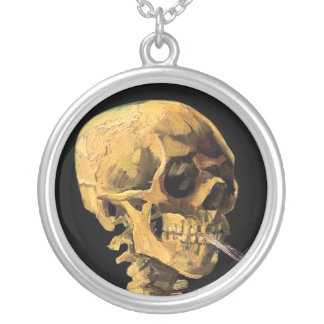Vincent Van Gogh - Skull With Burning Cigarette Silver Plated Necklace