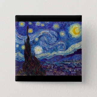 VINCENT VAN GOGH - Starry night 1889 2 Inch Square Button