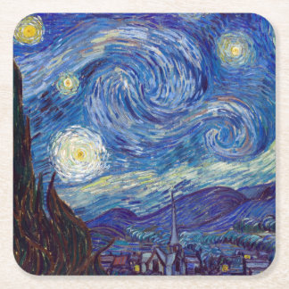 VINCENT VAN GOGH - Starry night 1889 Square Paper Coaster