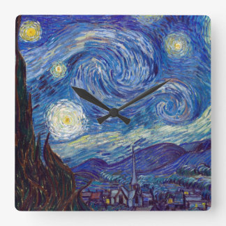VINCENT VAN GOGH - Starry night 1889 Square Wall Clock