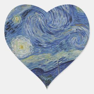 Vincent Van Gogh - Starry Night. Art Painting Heart Sticker