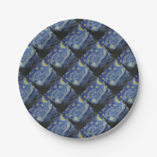 Vincent Van Gogh - Starry Night. Art Painting Paper Plate