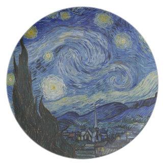 Vincent Van Gogh - Starry Night. Art Painting Plate