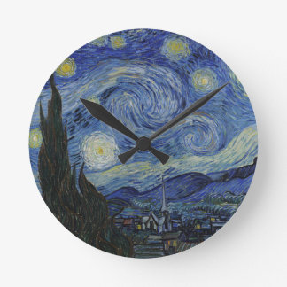 Vincent Van Gogh - Starry Night. Art Painting Round Clock