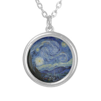 Vincent Van Gogh - Starry Night. Art Painting Silver Plated Necklace