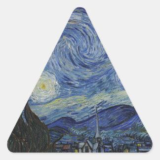 Vincent Van Gogh - Starry Night. Art Painting Triangle Sticker