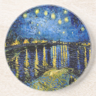 Vincent Van Gogh Starry Night Over The Rhone 1888 Beverage Coasters