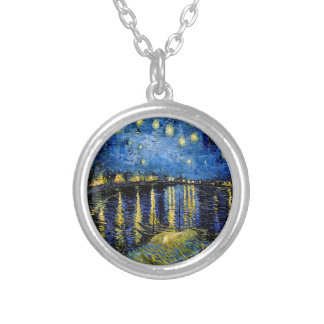 Vincent Van Gogh Starry Night Over The Rhone 1888 Silver Plated Necklace
