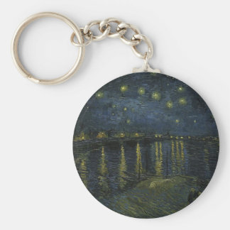 Vincent Van Gogh Starry Night Over the Rhone Art Keychain