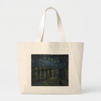 Vincent Van Gogh Starry Night Over the Rhone Art Large Tote Bag