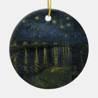 Vincent Van Gogh Starry Night Over the Rhone Art Round Ceramic Ornament