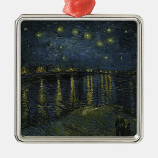 Vincent Van Gogh Starry Night Over the Rhone Art Silver-Colored Square Ornament