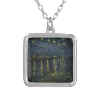 Vincent Van Gogh Starry Night Over the Rhone Art Silver Plated Necklace