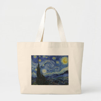 Vincent Van Gogh Starry Night Over The Rhone Paint Large Tote Bag