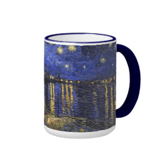 Vincent Van Gogh Starry Night Over The Rhone Ringer Mug