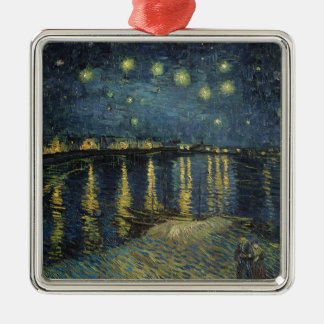 Vincent van Gogh   Starry Night Over the Rhone Silver-Colored Square Ornament