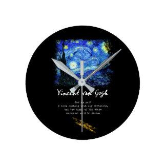 Vincent Van Gogh. Starry Night Painting Poem Art Round Clock