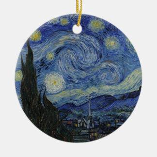 Vincent Van Gogh - Starry Night Round Ceramic Ornament
