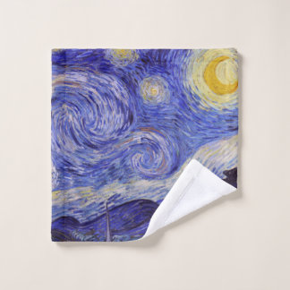 Vincent Van Gogh Starry Night Vintage Fine Art Wash Cloth