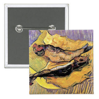 Vincent Van Gogh - Still Life Bloaters Fine Art 2 Inch Square Button